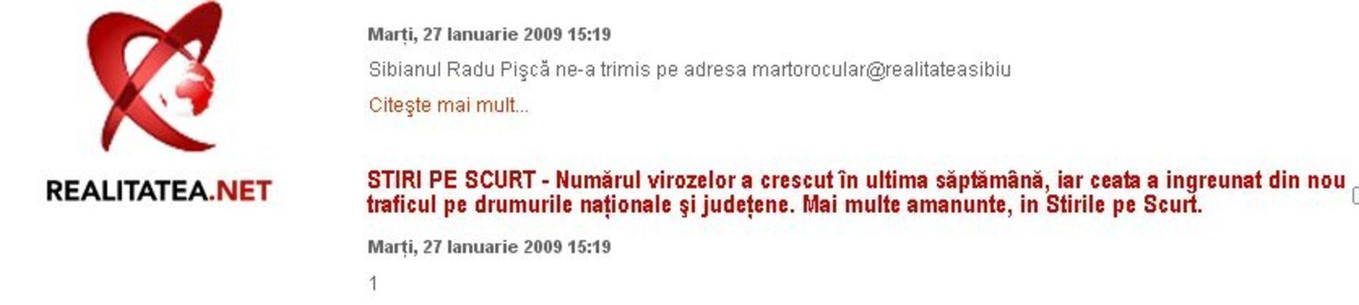 Stiri pe scurt Realitatea TV Sibiu
