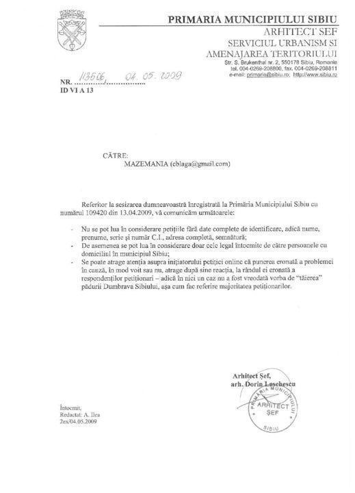 Primaria a respins petitia Padurea Dumbrava