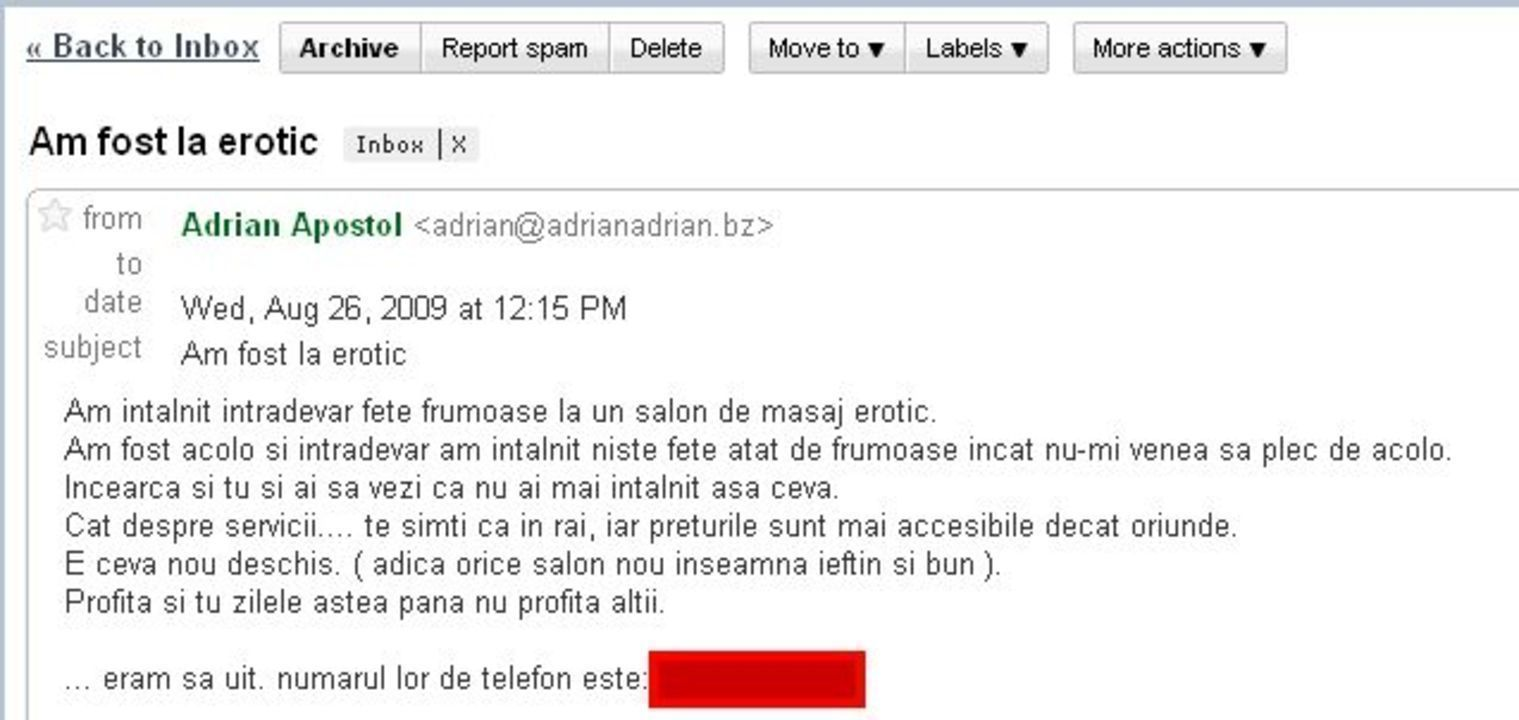Erotic spam romanesc
