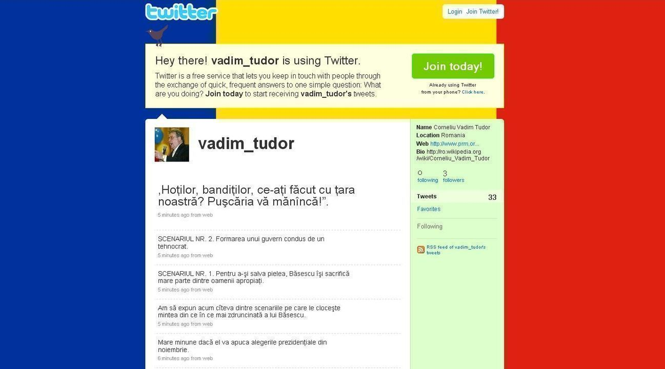 Vadim Tudor e pe Twitter