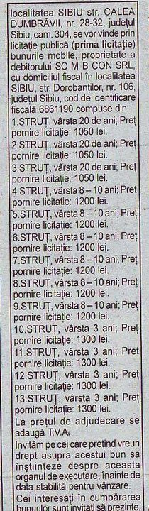 Licitatie de struti la Sibiu
