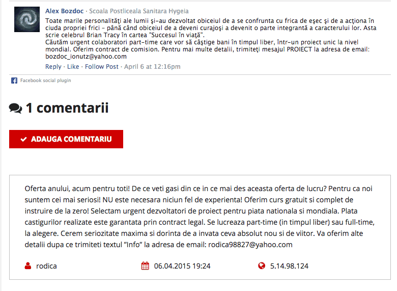 Tepele din comentarii la articole