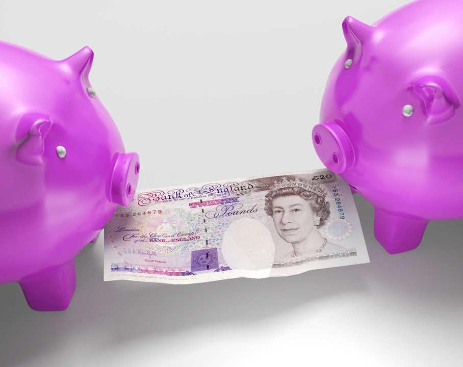 Piggybanks Fighting Over Money Showing Savings