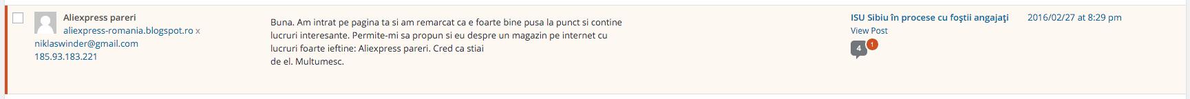 Aliexpress Romania Spam
