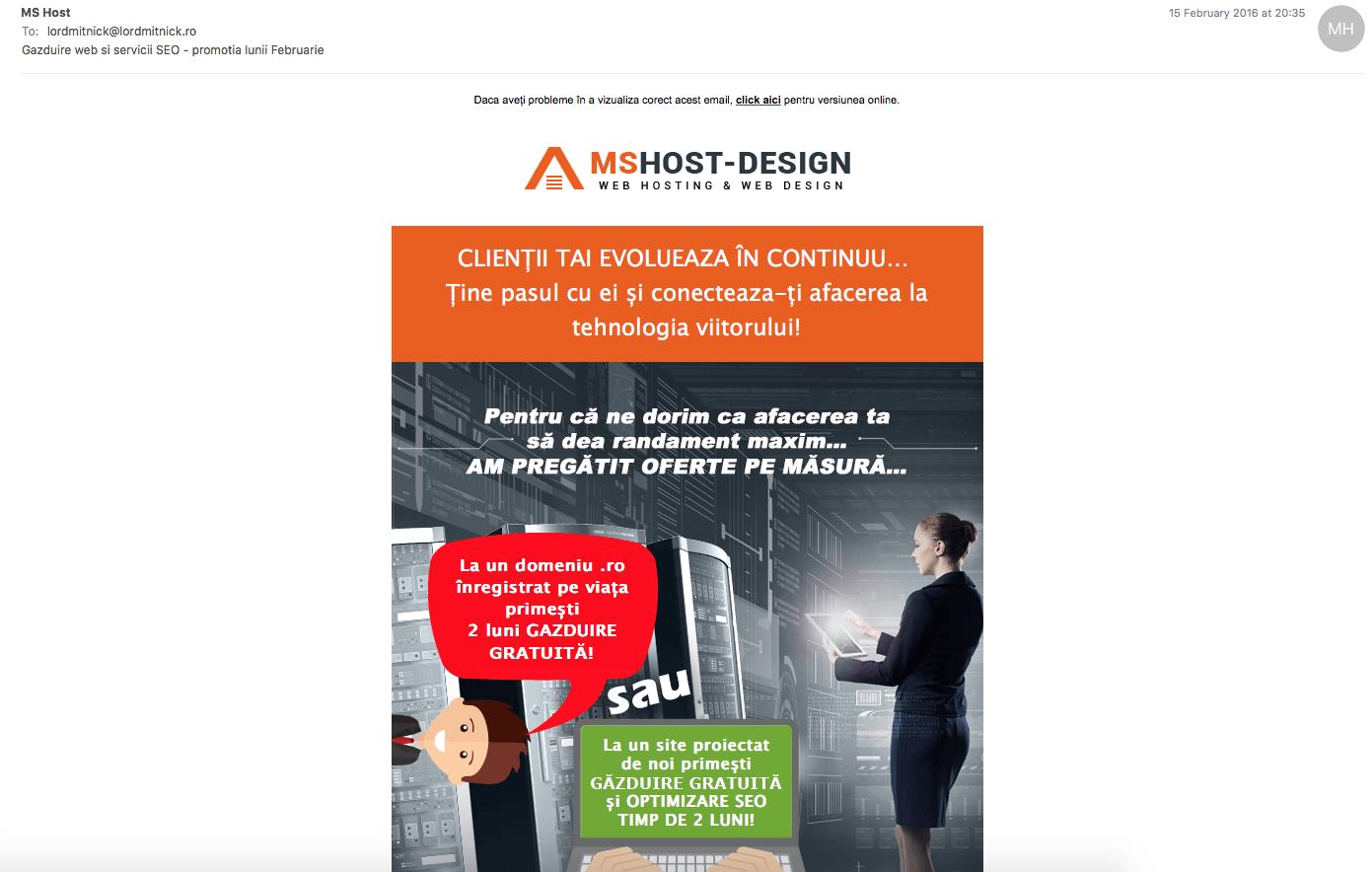 """MS Host """"respecta"""" etica online facand spam"""