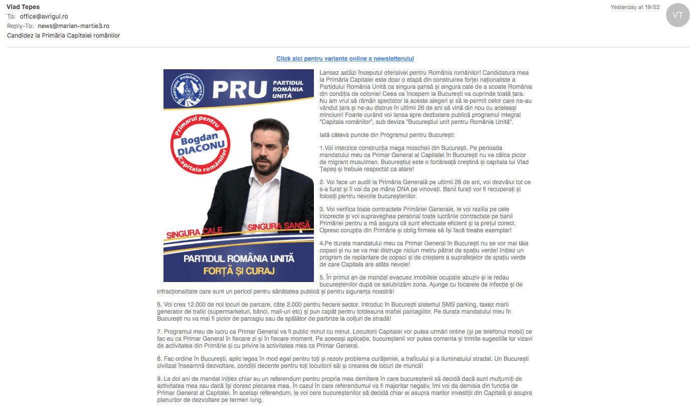 PRU, campanie electorala prin spam