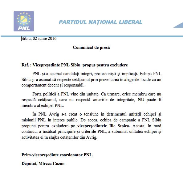 Comunicat de presa al PNL Sibiu - 02/06/2016