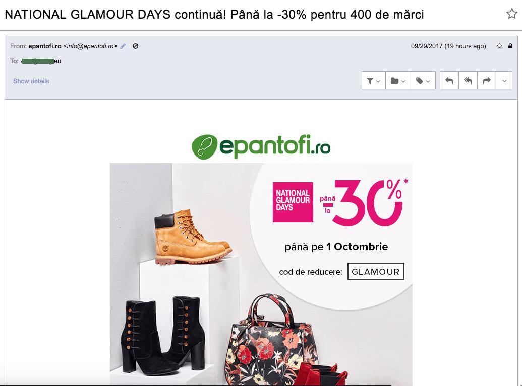 epantofi.ro - email harvesting si spam ordinar