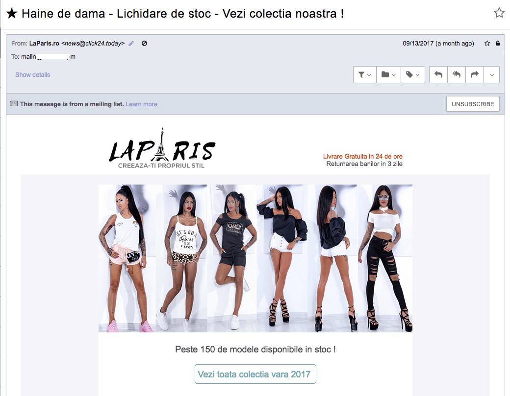 LaParis.ro, spam ordinar si magazin online dubios