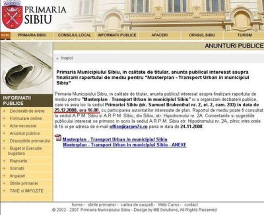 UPDATE: Primaria Sibiu m-a ametit